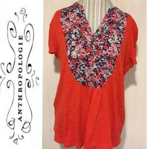 Antrho Postmark orange floral blouse 100% cotton